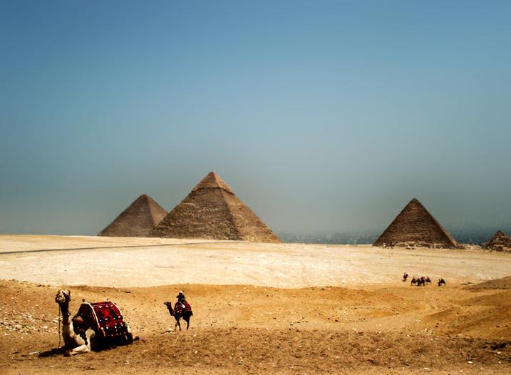 Pyramids in the Desert Haze by Jazbagz