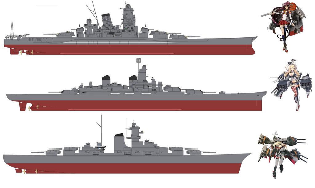 Yamato, Iowa, and Bismarck by SenkanYamato on DeviantArt
