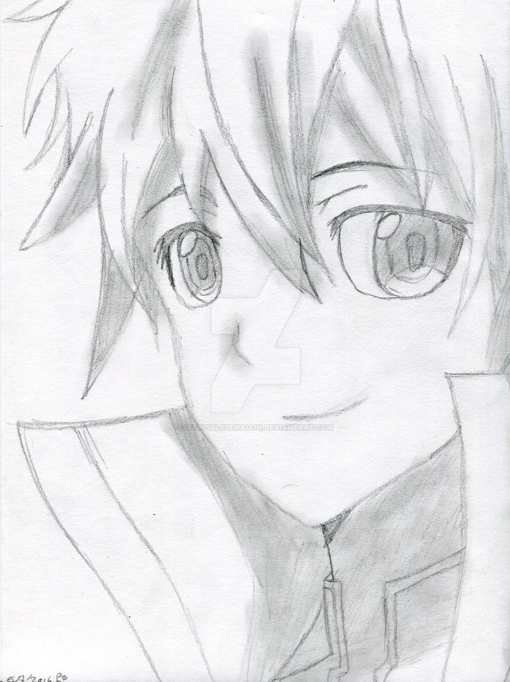 Kirito sketch sword art online by happybleudragon