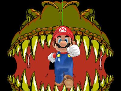 Mario Run From Pixel T-Rex by ArtForYourBrain