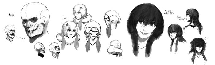 Nebula Rift main characters faces sketch by Ozo-is-o
