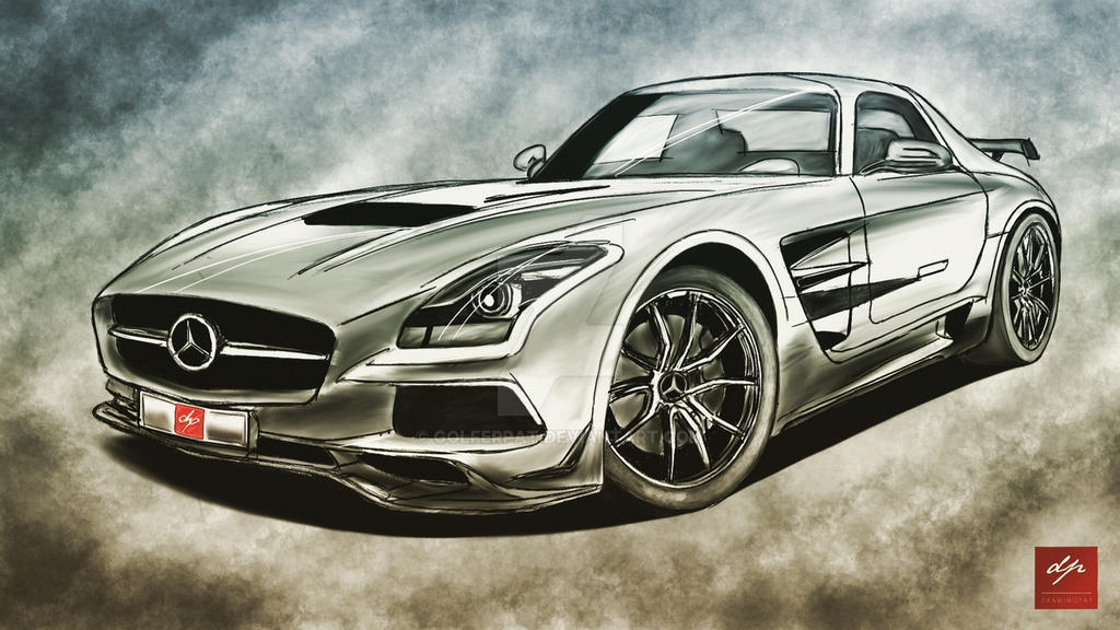 sketch of a mercedes benz sls amg drawingpat by