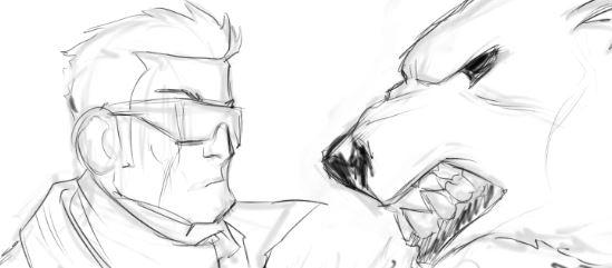 Guy vs Polar Bear - wip pencils by EryckWebbGraphics