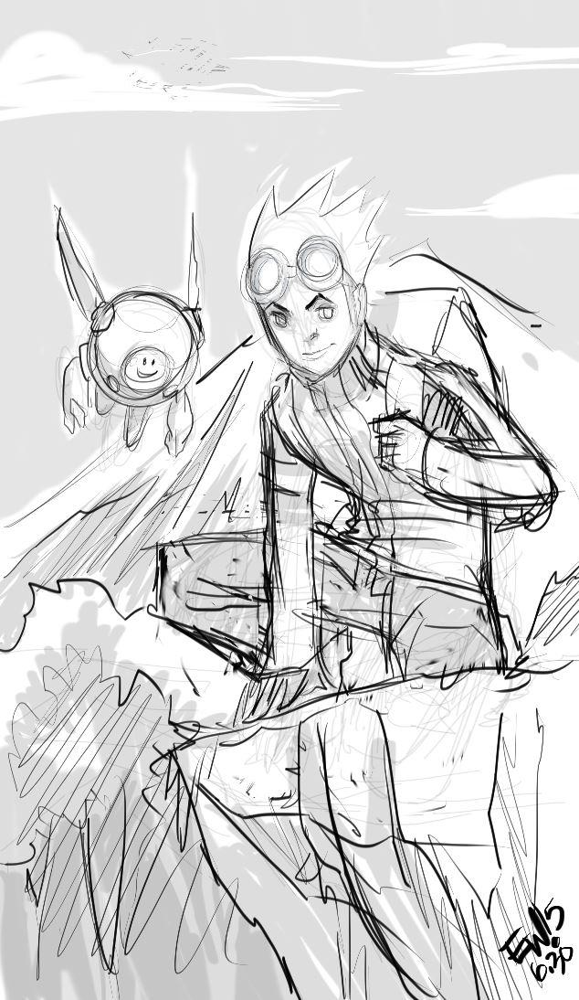 Jumping Boy and Companion - Sketch by EryckWebbGraphics