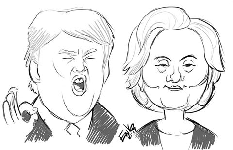 Trump And Hillary Caricatures by EryckWebbGraphics