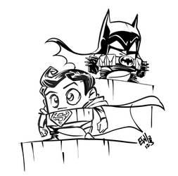 Batman N Superman Microchibis by EryckWebbGraphics