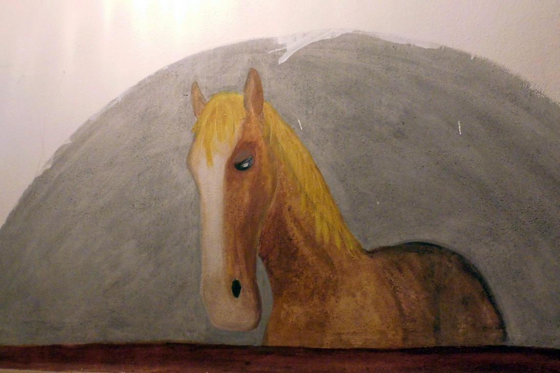 old mural horse by Takiako-Nakashi