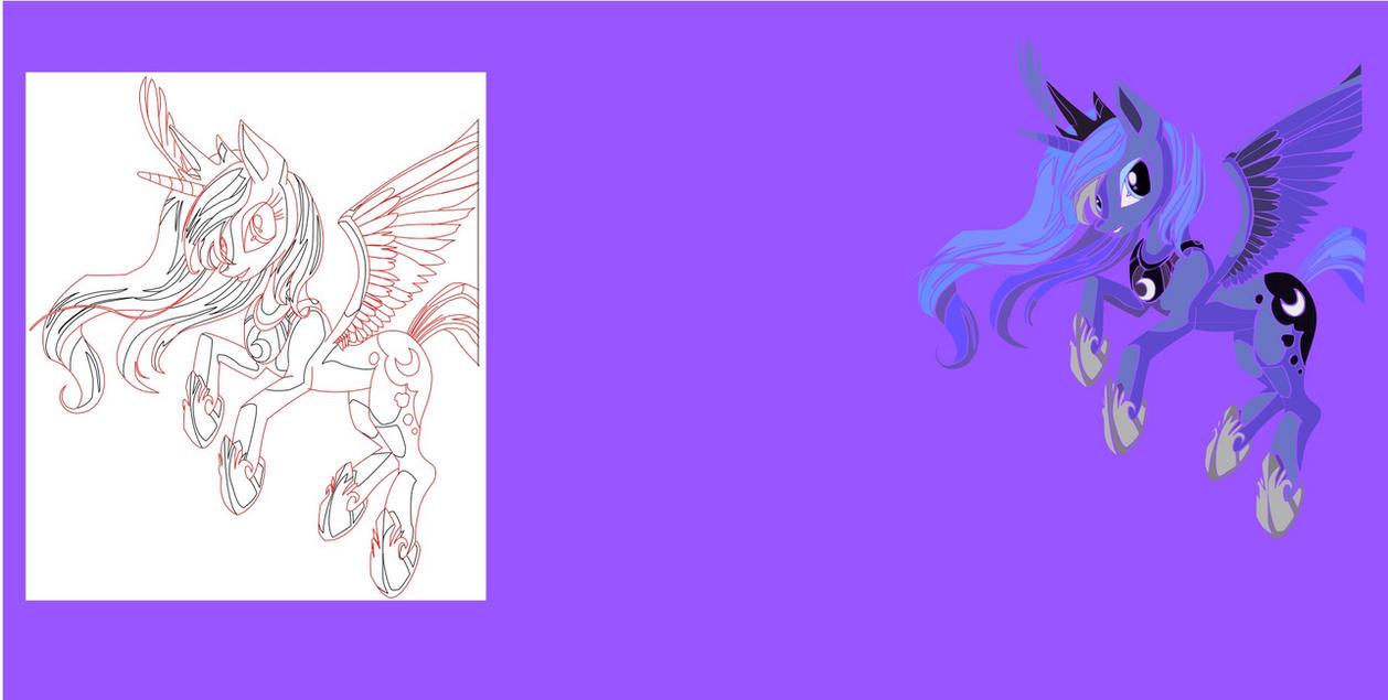 MLP FiM Princess Luna Vectorfinished W Outline By Phantasma Eeria