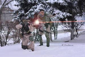 Winter Assault, Imperial Guard sniper team by Wastort