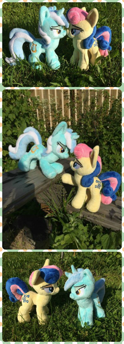 Lyra and Bonbon couple My Little Pony plush toy by Ketikaket