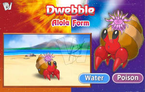 Alola Form Water-Poison Type Dwebble by KalWalker