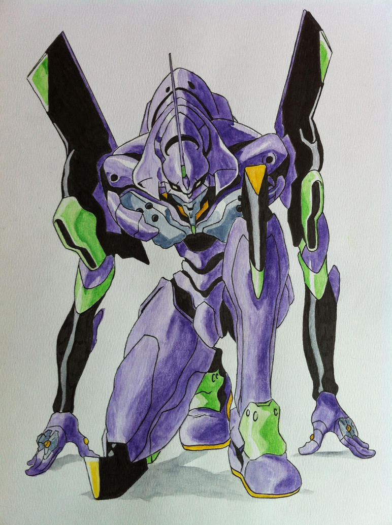 Eva-01 Ink/Watercolour by cabogie