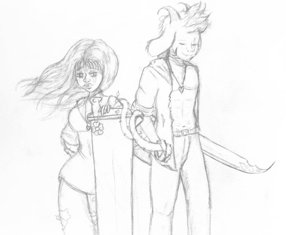 Chara and Asriel sketch by creativepitstop