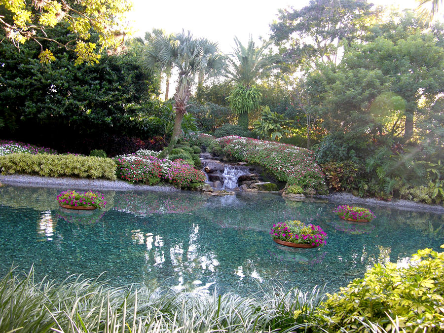 Garden with waterfall stock 3 by FairieGoodMother