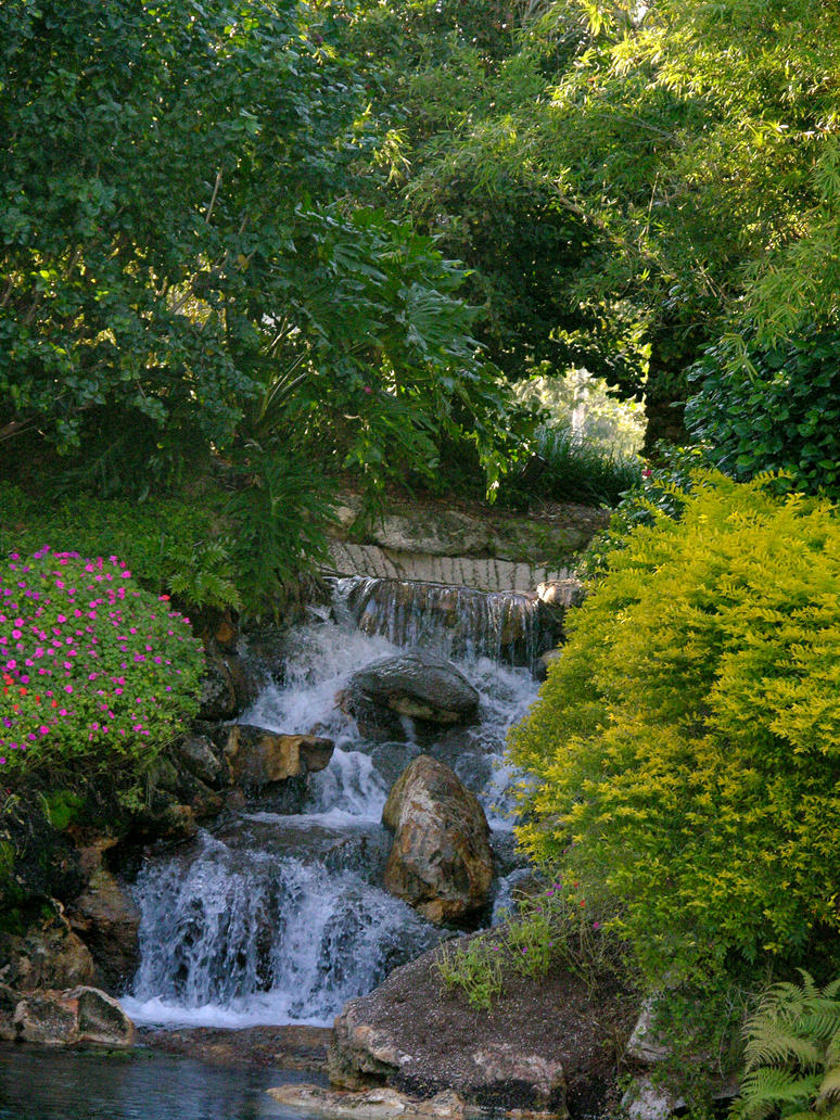 Garden with waterfall stock 10 by FairieGoodMother