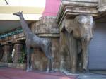 Giraffe and Elephant statue