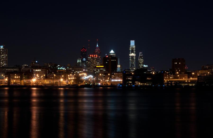 Philadelphia City Skyline Long Exposure 07 by FairieGoodMother
