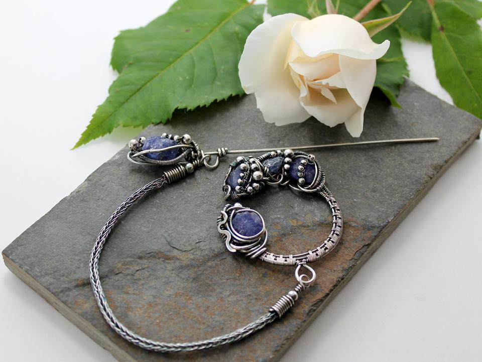 Celtic Brooch - Sterling Silver and Tanzanite by AbbyHook