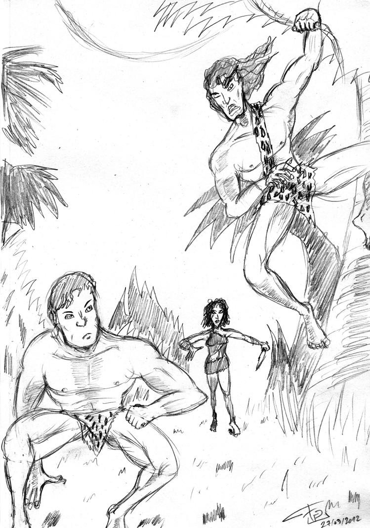 Jungle Trio sketch (update 2014) by FG-Arcadia