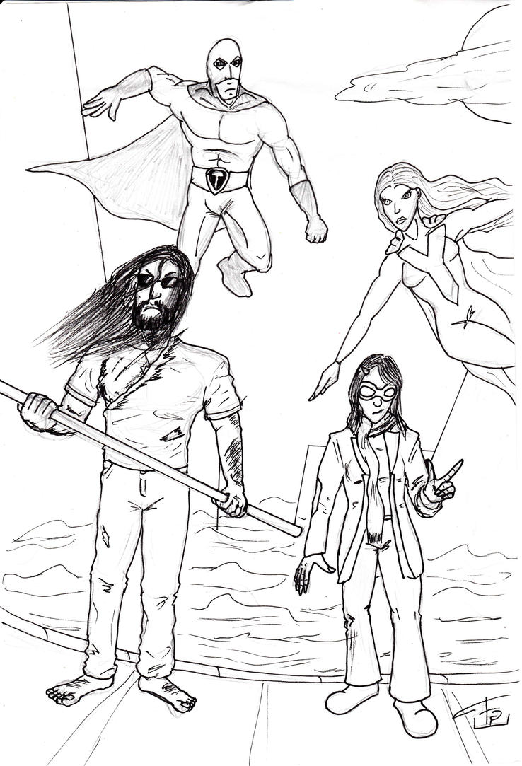 Revamped characters plus a few creations of mine Xavier_and_co_inks_by_fg_arcadia-d62n812