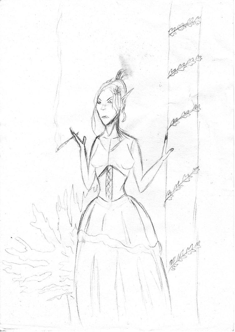 Elf Girl sketch 2015 by FG-Arcadia