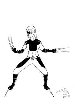 Claire Djarvick posing as X-23