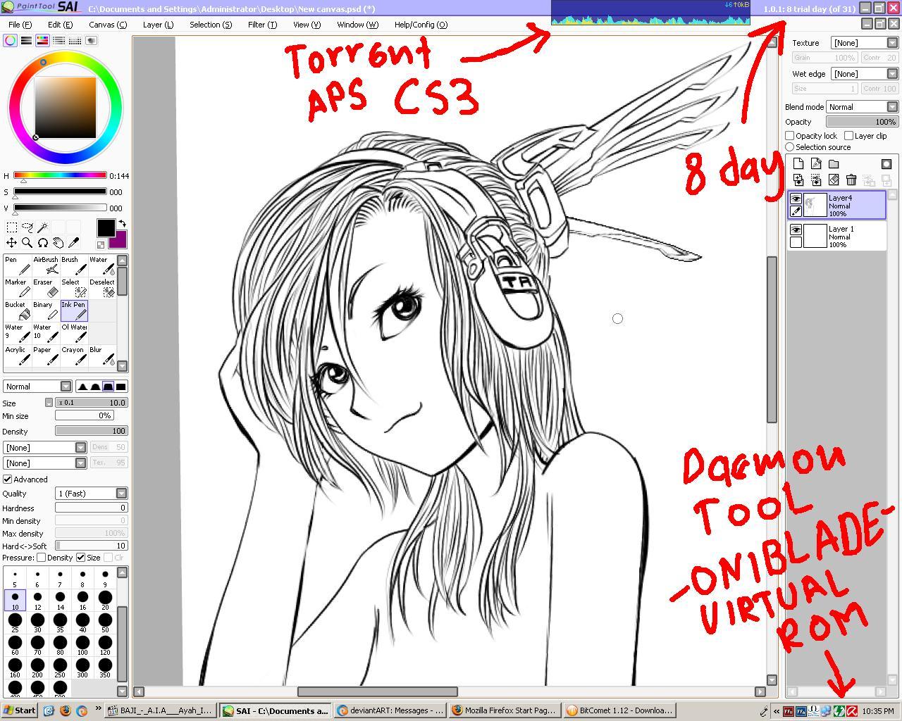 Paint Tool Sai Inking Training By Jerungan On Deviantart
