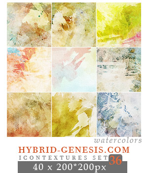 40 Watercolor Icon Textures (HG Set 36) by In5omn1ac