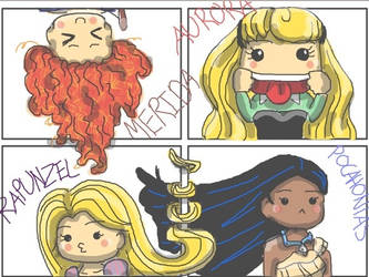 Chibi Comic Princesses by kittymaxwell2005