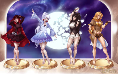 Team RWBY in the Gallery: Statuefied by Mezzberry