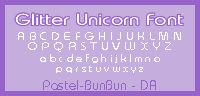 Glitter Unicorn Pixel Font PNG