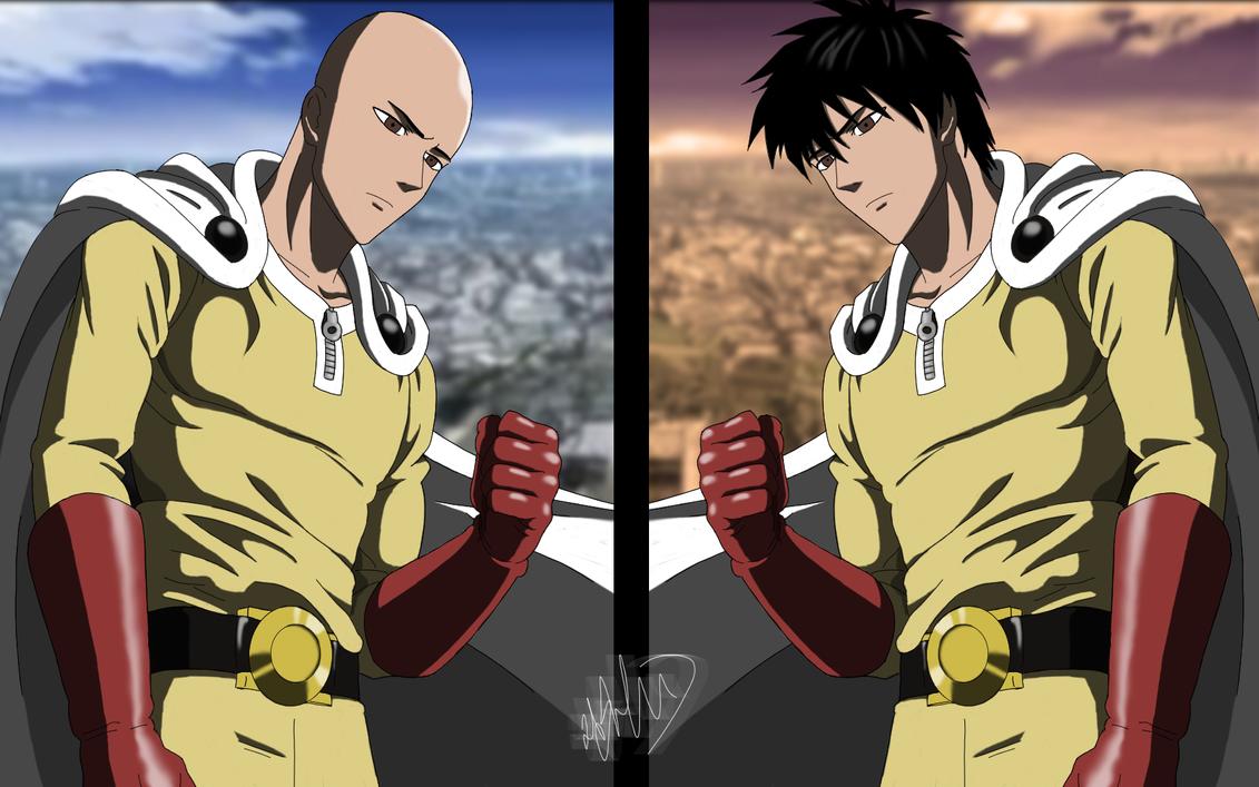 Saitama hero bald and with hair one punch man by rashend on