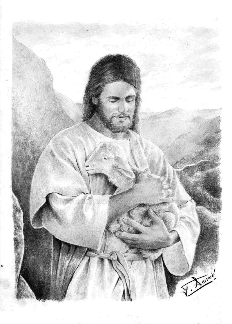 Jesus Holding A Lamb By Raimondsy