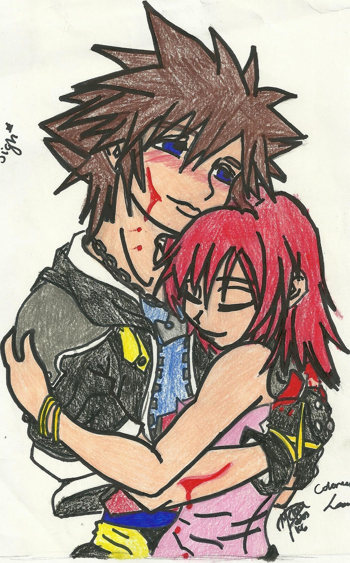 Sora Kairi sketch of pain: colored by sorandkiari