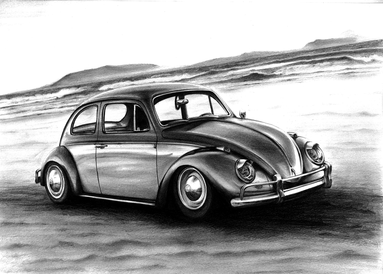 Volkswagen Beetle Art Drawing By Racing Is My Life On