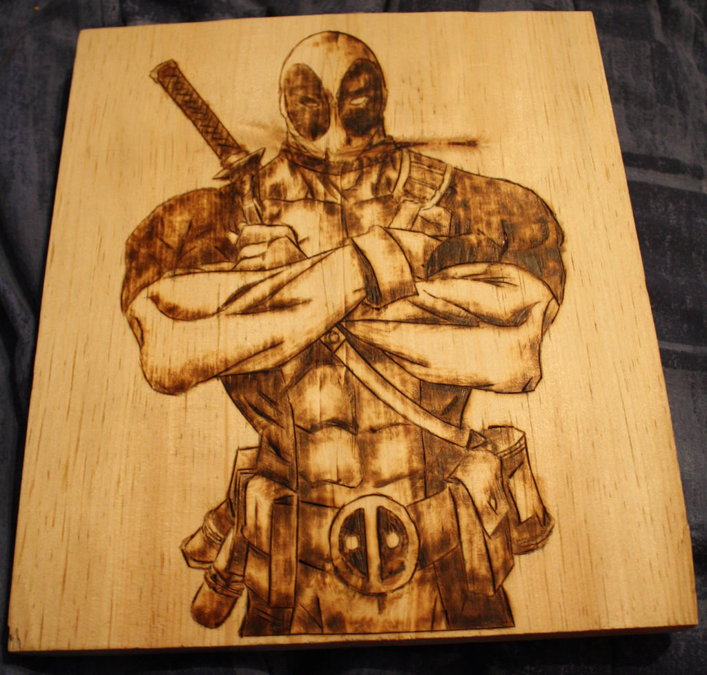 Deadpool Wood Burning by Midnight-Dark-Angel