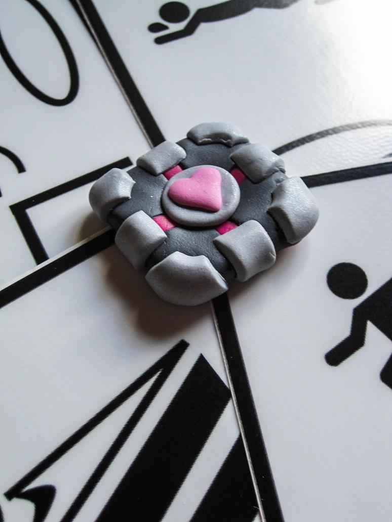 Companion Cube Keychain Charm by HowlingBanshee