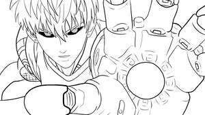 Lineart-Incinerate!(Genos)-One Punch Man
