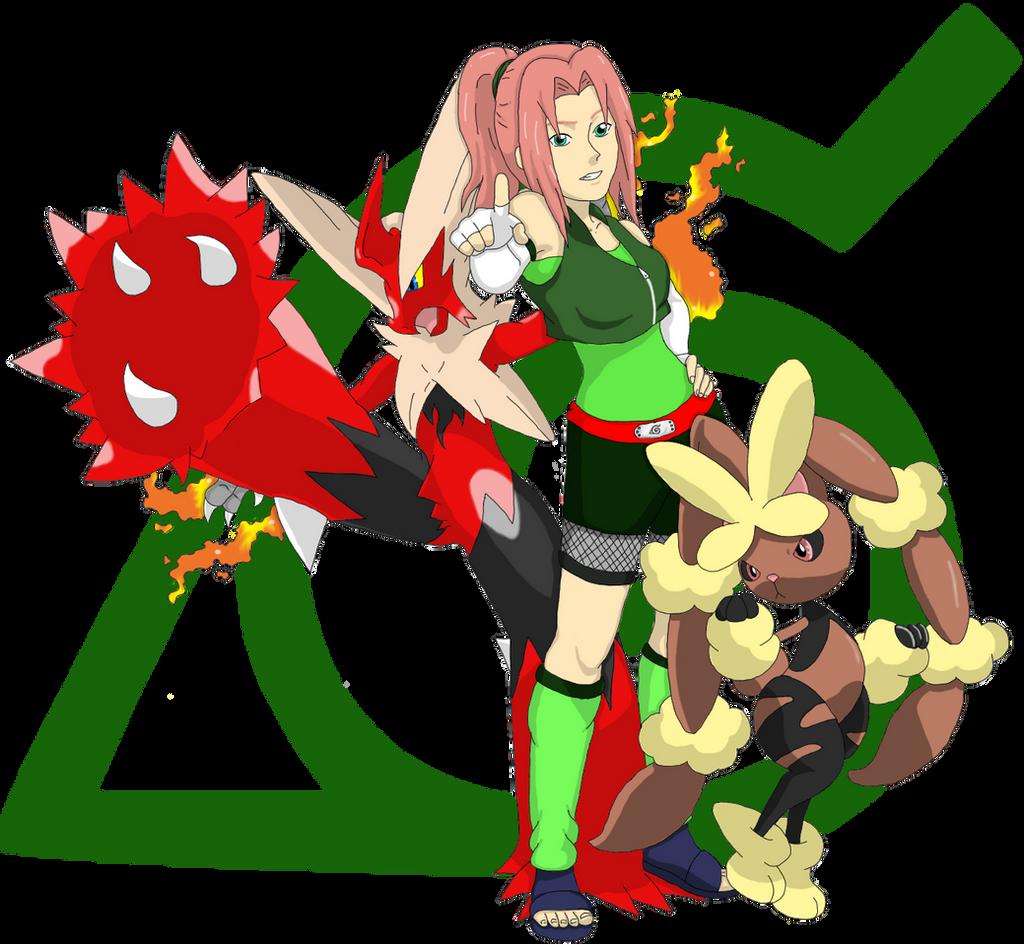 Kimiko with Mega Blazen and Mega Lopunny by DigiFoxCat