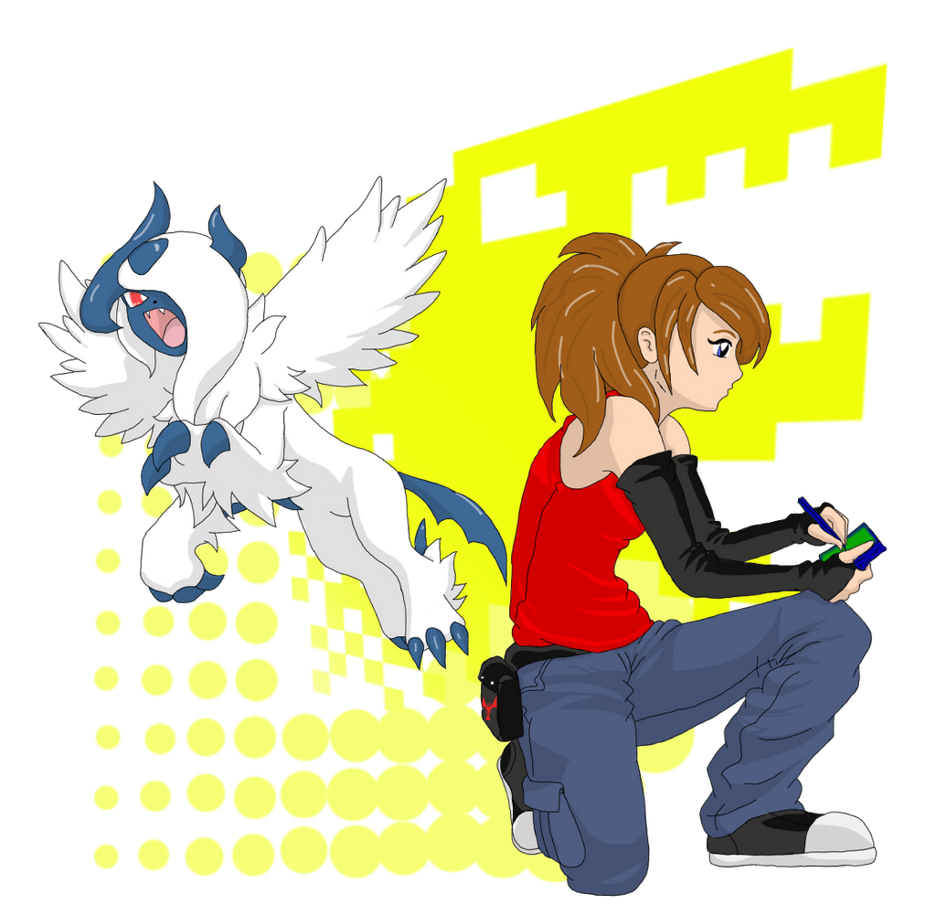 Kimiko Shizuka and Mega Absol by DigiFoxCat