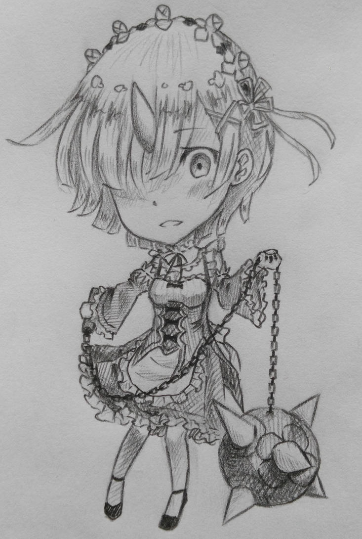 Chibi Rem Sketch by Kamikoroshu