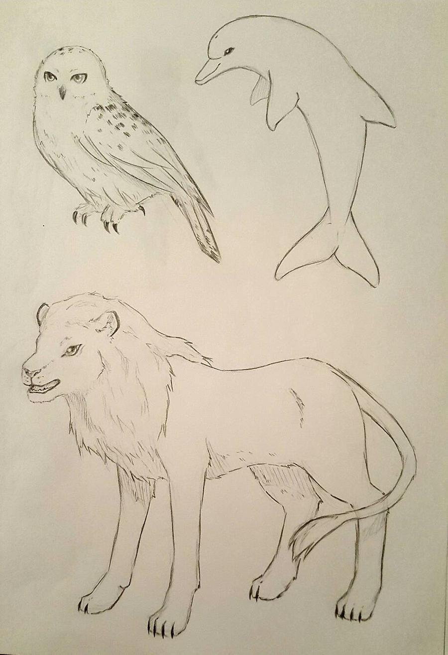 Random animals sketch by Kamikoroshu