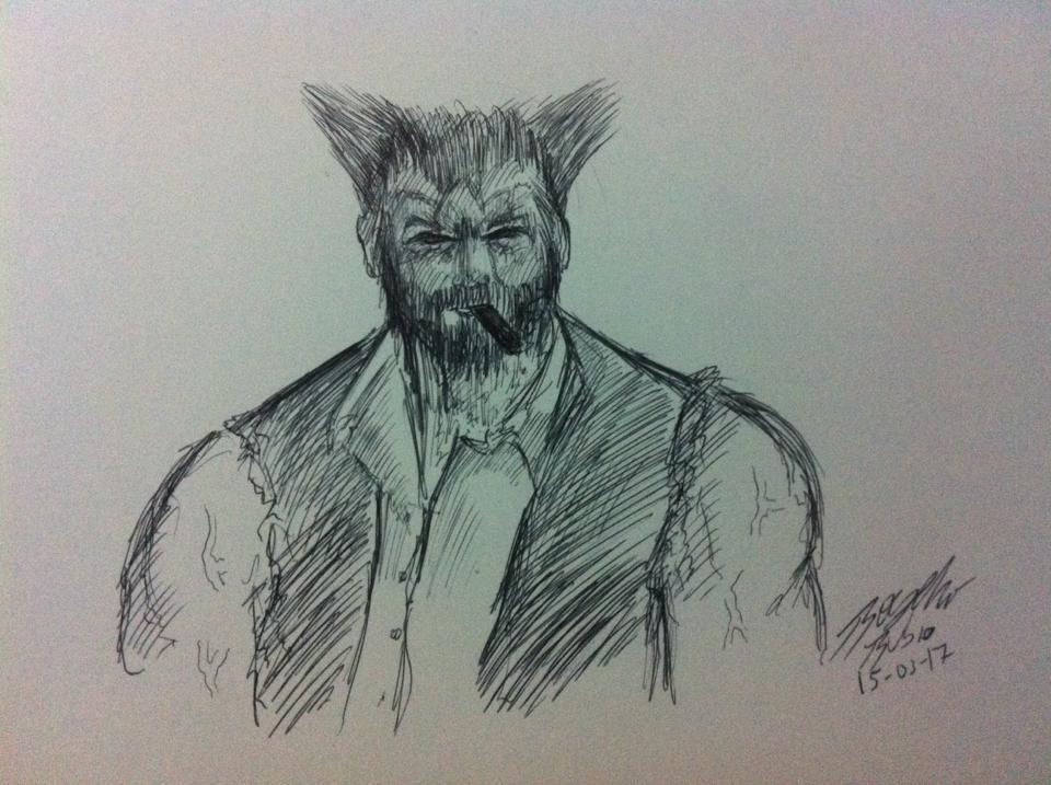 Logan-Wolverine Practicando by KyubiNabruto