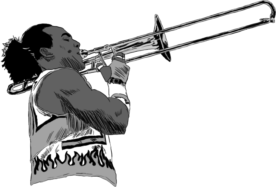 xavier_woods_with_trumpet_by_adula11-db2