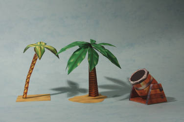 Cannon and Palm Papercraft