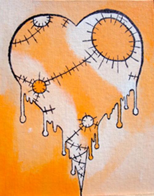 Orange Broken Heart
