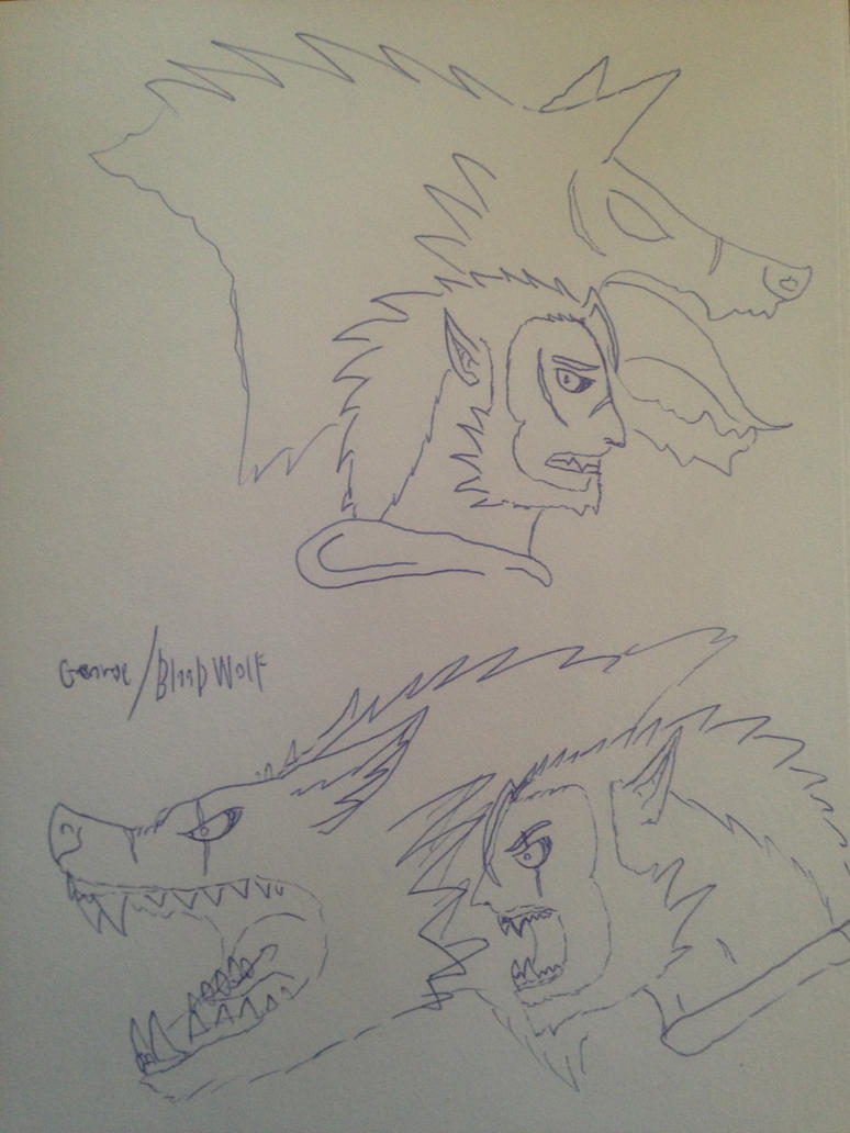 Sketches of blood wolf/George  (second sona) by vulcanfirelizard75