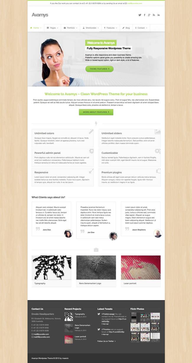 Avamys Wordpress Theme - Boxed layout