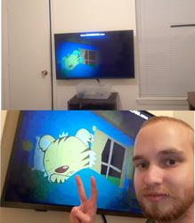 Me and My New Insignia TV with Sleeping Rintoo by firealarm1997