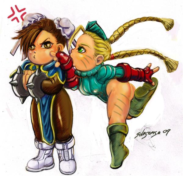 Chibi Cammy vs Chun li -color by Solusemsu